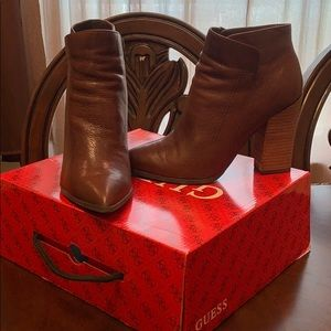 guess brown leather booties